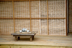 Japanese tea house. With table and tea set stock images
