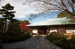 Japanese tea house. Autumn view on japanese tea house and garden royalty free stock photo