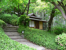 Japanese tea house. Old japanese tea house i a garden in tokyo royalty free stock images
