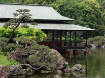 Japanese tea house. At the banks of a lake stock photo