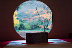 Japanese Tea house & Autumn through window Royalty Free Stock Images