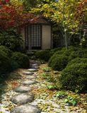 Japanese Tea House and Garden. Japanese traditional tea house and garden with stepping stones, 3d digitally rendered illustration stock illustration