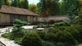 Japanese Tea House and Pond Royalty Free Stock Photography