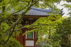 Japanese Tea House with Sloping Roof. An ancient Japanese tea house in a secluded garden in Tokyo, Japan royalty free stock photography