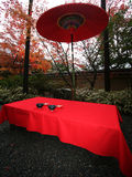 Japanese tea restaurant. In autumn garden Royalty Free Stock Photos