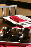 Japanese Tea Set. Formal table setting for a Japanese meal. Shallow DOF Stock Photos