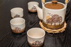 Japanese tea set on a table stock image