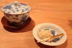 Japanese tea with Wagashi. Janpanese tea and Wagashi (sweet jelly with soy bean flour Stock Images