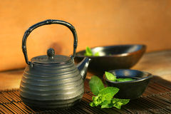 Japanese teapot and cup Stock Photos