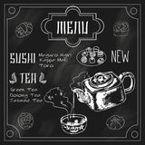 Japanese teapot and cup blackboard Stock Image