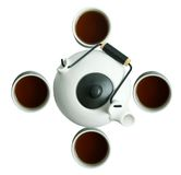 Japanese teapot with cups on white background Stock Photo