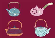Japanese Teapot. Hand drawn illustration vector Stock Images