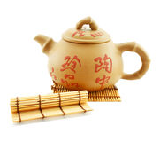 Japanese teapot and wooden stand Royalty Free Stock Images