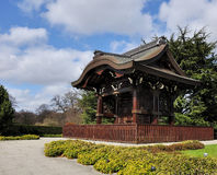 Japanese temple. A little japanese temple reconstructed inside the kew gardens,london stock photography