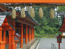 Japanese temple. Inner yard by wet summer time Stock Photography