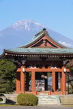 Japanese temple architecture and mountain fuji Stock Image