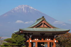 Japanese temple architecture and mountain fuji Stock Photo