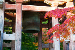 Japanese temple bell in autumn garden Stock Photography