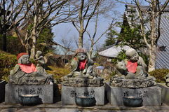 Japanese temple, Buddhist statues detail. Stock Photo