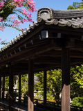 Japanese temple corridor with garden Stock Images