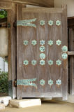 Japanese temple door. A large door, entrance to Japanese temple Stock Photo