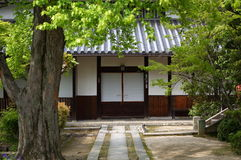 Japanese temple. The door of the Japanese Temple under the tree Royalty Free Stock Photography