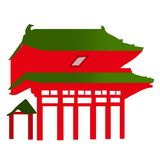 Japanese Temple Entrance - Vector. A  of a Japanese temple entrance Royalty Free Stock Photos