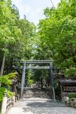Japanese Temple Gate. Japanese temple mountain gate in forest royalty free stock image