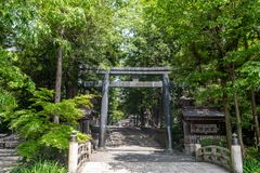 Japanese Temple Gate. Japanese temple mountain gate in forest royalty free stock photo