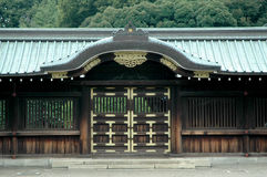 Japanese Temple Gate. Japanese Traditional Wooden Temple Gate with a Ceramic Tile Roof stock photo