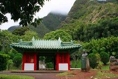 Japanese Temple in Kepaniwai Stock Images