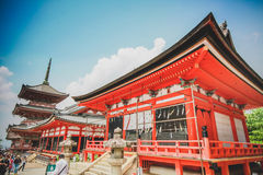 Japanese temple Kiyomizu at Kyoto Royalty Free Stock Photo