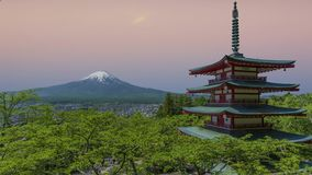 Japanese temple and Mount Fuji view