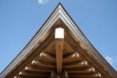 Japanese temple roof against blue sky. Royalty Free Stock Images