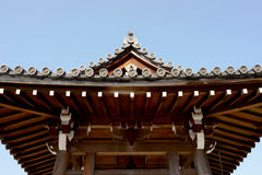 Japanese temple roof. Traditional japanese temple roof against a blue sky Royalty Free Stock Photos