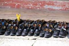 Japanese temple school shoes Royalty Free Stock Photos