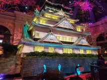 Japanese temple shrine japan vegas bellagio hotel glowing sparkling royalty free stock photos