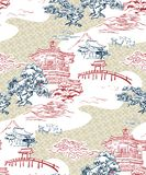 Japanese temple view vector pattern pine mountains