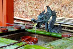Japanese temple water pipe Stock Photos