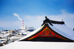 Japanese temple winter scene Stock Photography