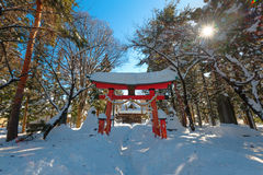 Japanese Temple in Winter Scene Stock Images