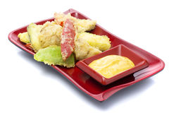 Japanese tempura with vegetables and suace curry isolated Stock Photos