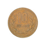 Japanese ten yen coin.Isolated. Stock Image