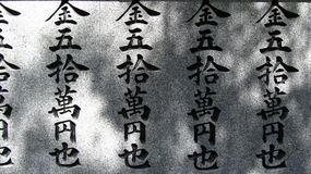 Text in Kanji. Text on a wall of a Japanese Temple, written with Kanji alphabet Stock Photos