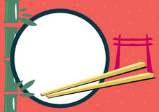 Japanese Themed Frame for Food and Travel Concepts. A frame concept illustration with Japanese themes like bamboo, chopsticks and Torii gate or popularly known stock illustration