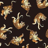 Japanese tiger pattern. I drew a tiger in the technique of the Japanese traditional painting Stock Photography