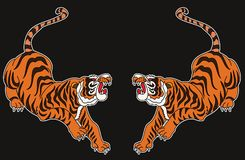Japanese tiger tattoo design vector. Hand drawn line art of tiger Vector on black background. Idea for tattoo and coloring books Stock Photos