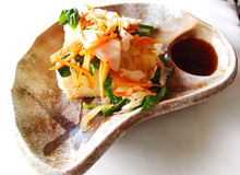 Japanese tofu salad dish. A photograph showing the starter or appetiser dish of japanese cold beancurd toufu salad, served with japanese soya sauce.  Healthy Royalty Free Stock Images