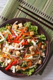 Japanese tofu salad with fresh vegetables vertical top view Royalty Free Stock Image