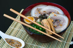 Japanese tonkotsu ramen, pork bone broth noodles Royalty Free Stock Photos
